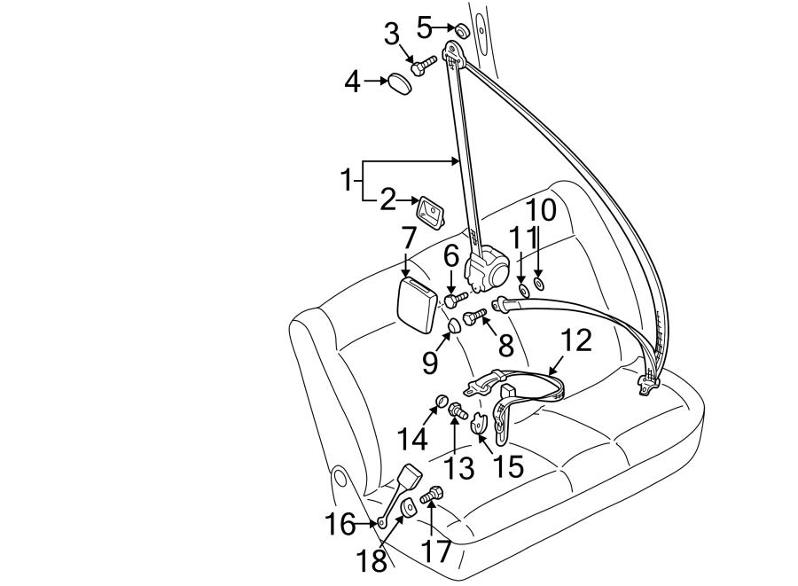 Volkswagen Eurovan Seat Belt Retractor Cover  Center Dual Seat  Rear  Right